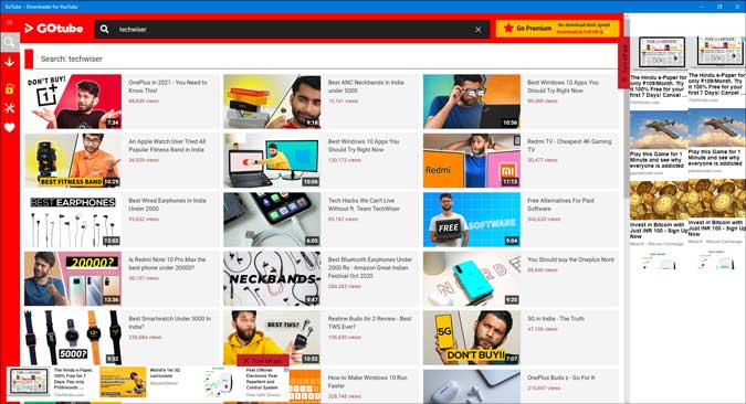 gotube search result on windows 10