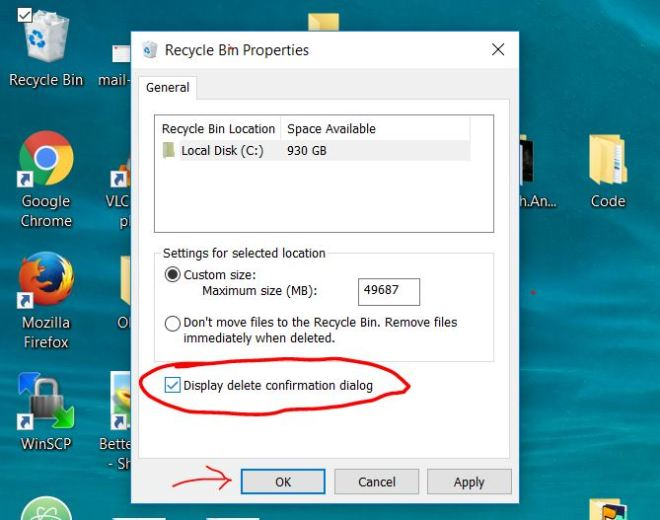 Windows 10 Enable Delete confirmation Dialog