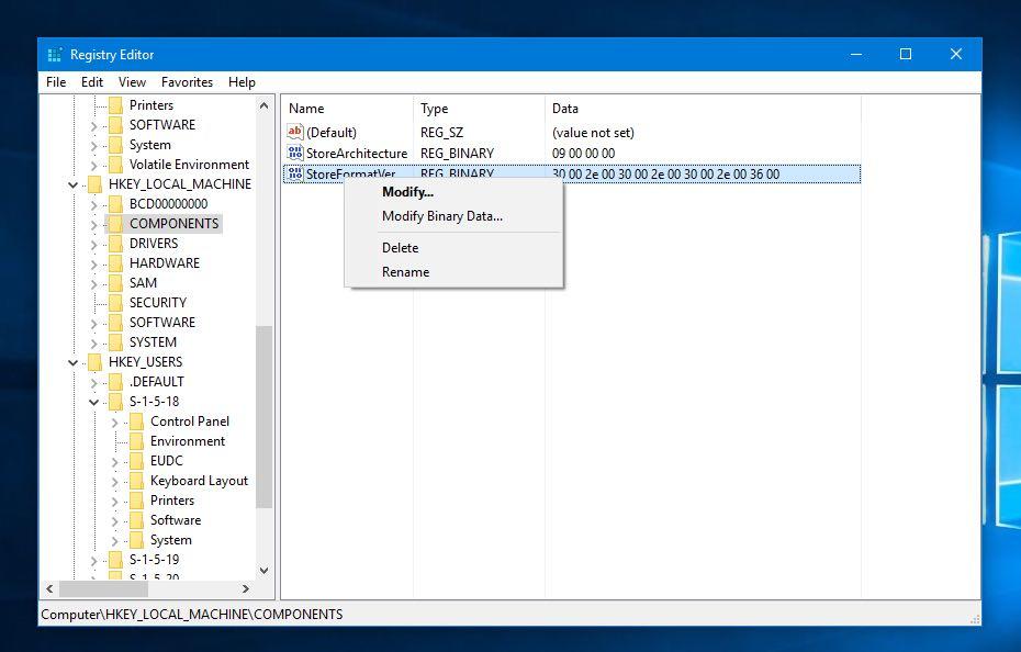 Edit Windows registry keys and value