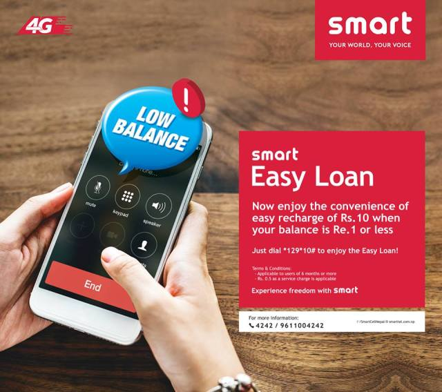 Low balance? Worry not! Get an instant refill of Rs. 10 by dialing *129*10# when your balance is Re. 1 or less. For more information, click on this link: https://smarttel.com.np/service/smart-easy-loan #SmartEasyLoan #Smart #YourWorldYourVoice