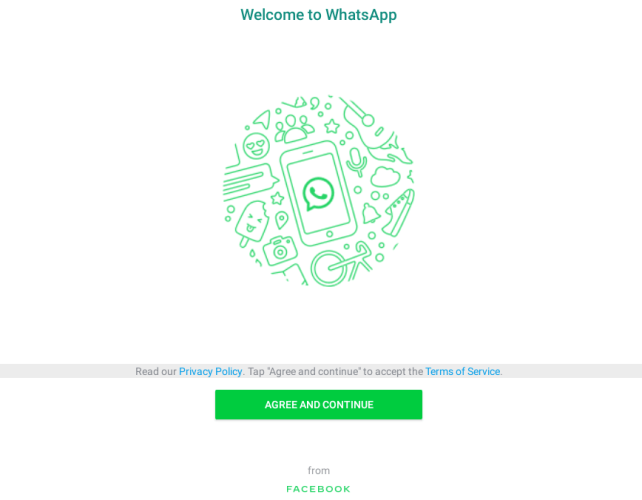 WhatsApp terms and condition page
