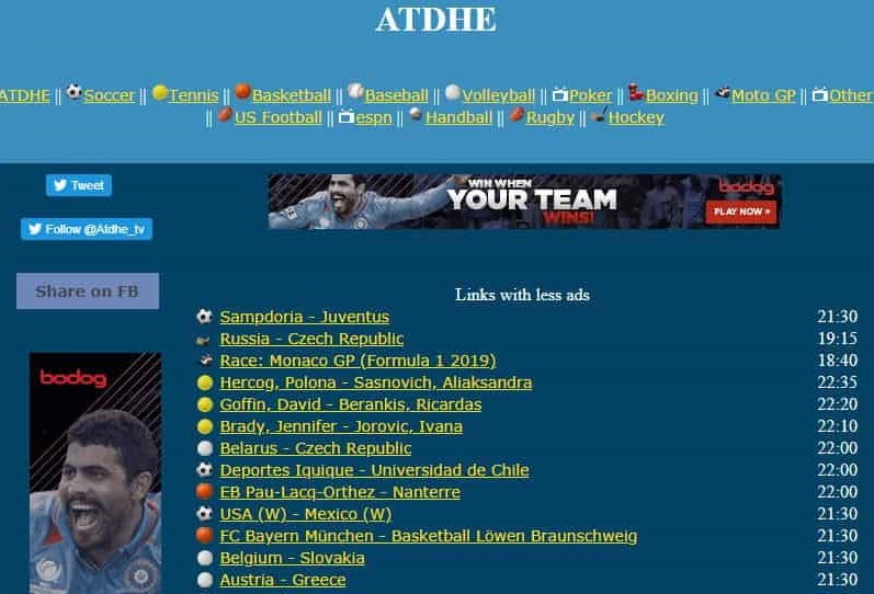 atdhe website for live streaming