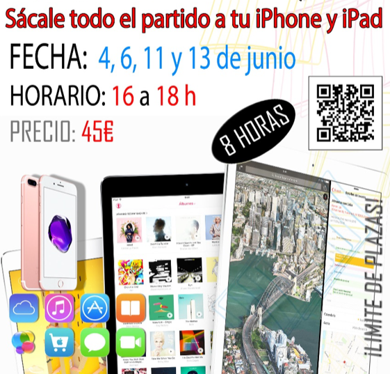 Curso 8 horas iPhone y iPad: 4, 6, 11 y 13 de Junio