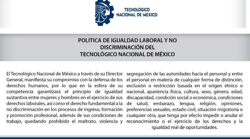 Política de Igualdad Laboral y No Discriminación del Tecnológico Nacional de México