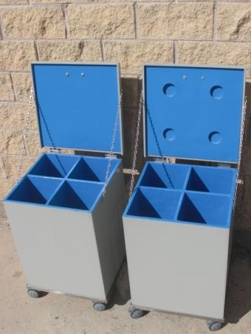 Contenedor residuso con exterior en PVC e interior en plomo pintado