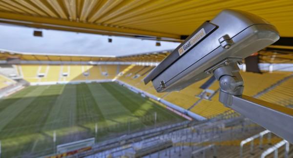 Uma das 14 câmeras do GoalControl-4D espalhadas pelos estádios