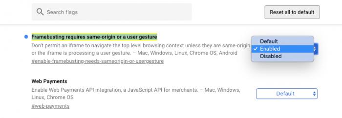 Chrome Flags Framebusting 700x242 - Você pode receber alertas de vírus falsos no celular - ENTENDA