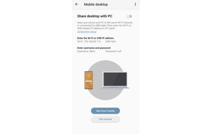 Motorola trabalha em recurso para integrar os celulares e o computador (Imagem: Reprodução/XDA-Developers)