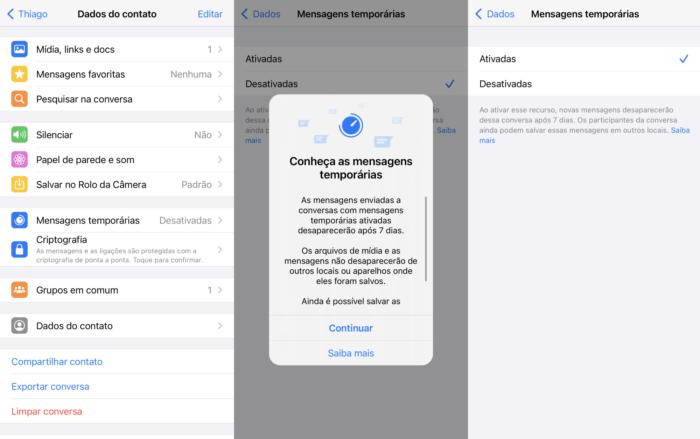 Usuários no Brasil conseguem ativar mensagens temporárias (Imagem: Reprodução/WhatsApp)