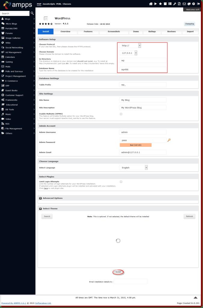 instalar wordpress usando ampps