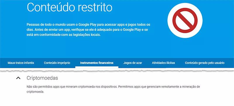 Google não permite mais apps de mineração de Criptomoedas na Play Store