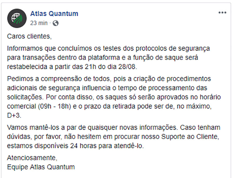 Atlas Quantum vai reestabelecer a função saque na plataforma