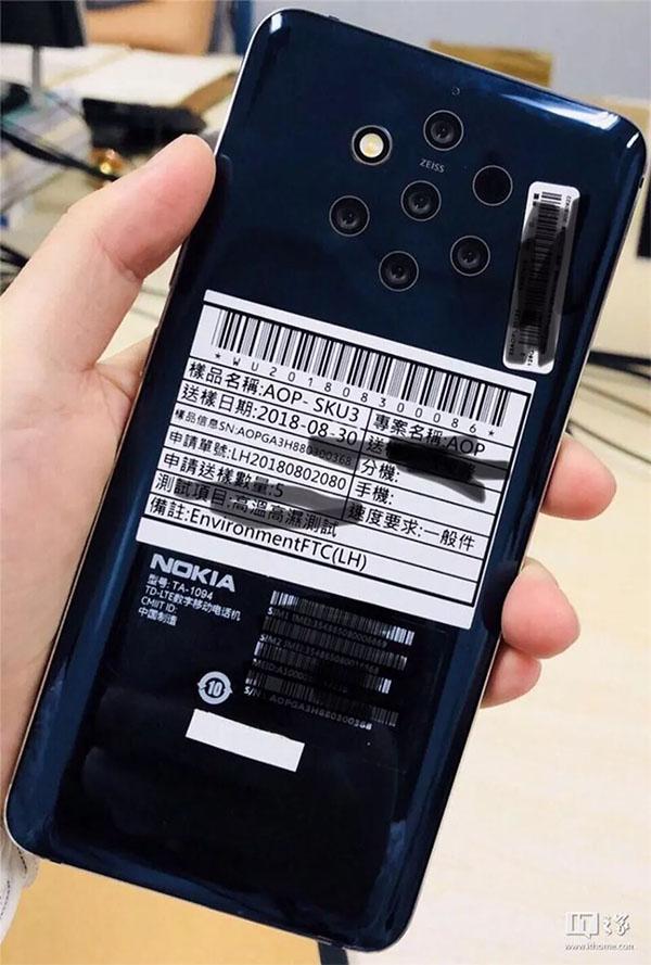 Imagem de smartphone da nokia com 5 câmeras é vazada na web