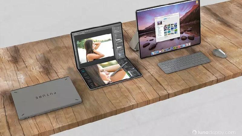 MacBook com tela dobrável aparece em imagem conceitual