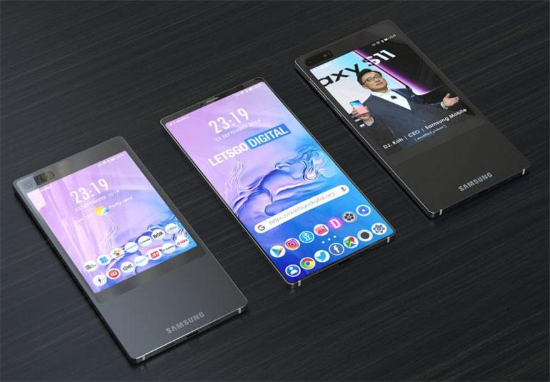 Samsung apresenta patente do Galaxy S11e com tela na parte traseira