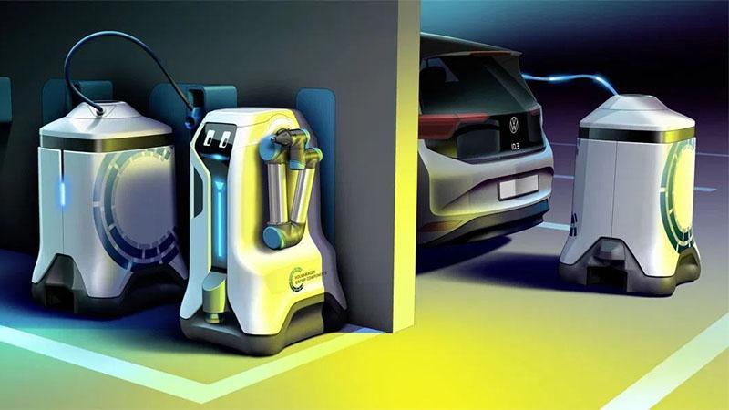 Futuramente os Robô de carregamento móvel da Volkswagen irá até onde o seu carro estiver para carregá-lo