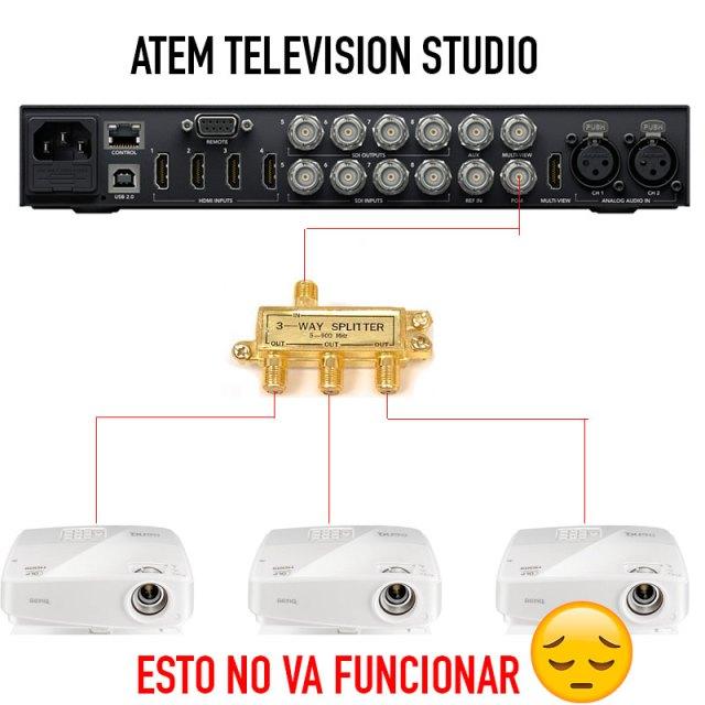 En esta imagen puedes ver el inútil intento de conectar una señal digital a un distribuidor analógico de RF.