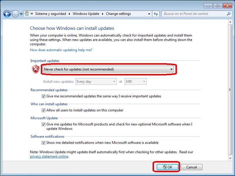 Nunca buscar actualizaciones Windows 10