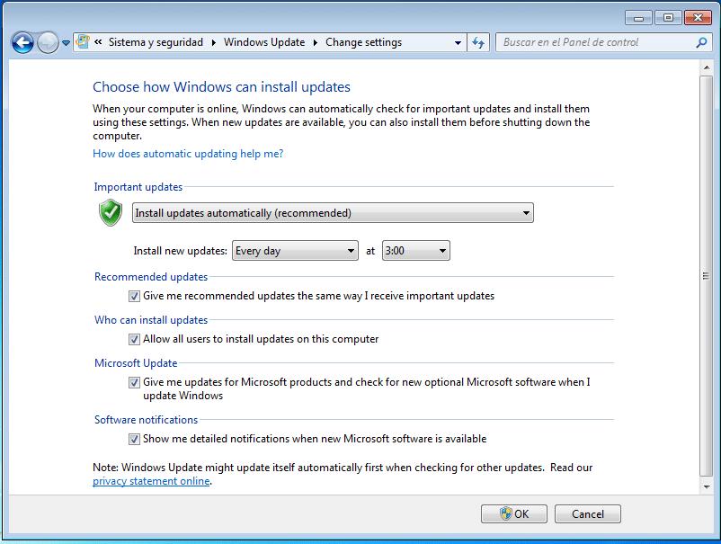 instalar actualizaciones automáticamente