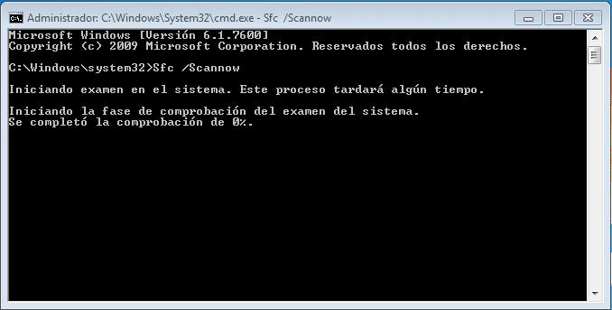 sfc/scannow en modo administrador