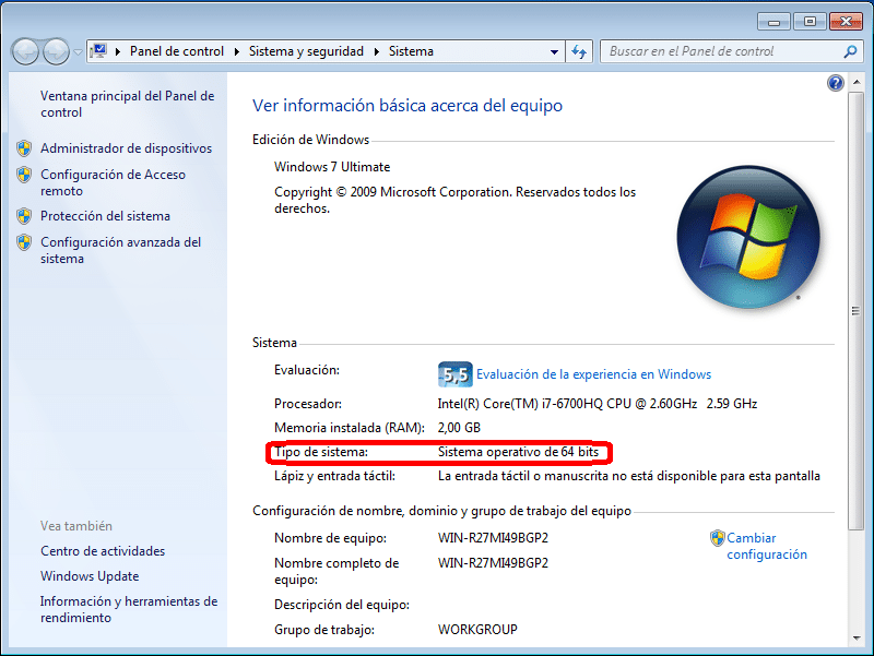 Versión del sistema operativo Windows 7