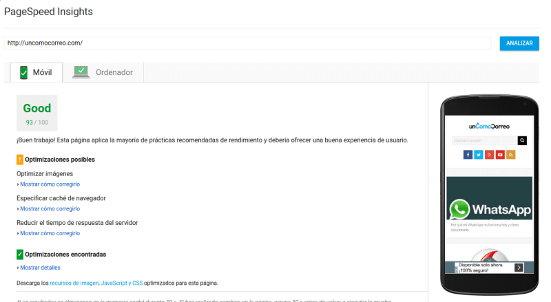 pagespeed uncomocorreo