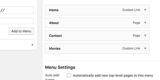 Custom link item in navigation menu