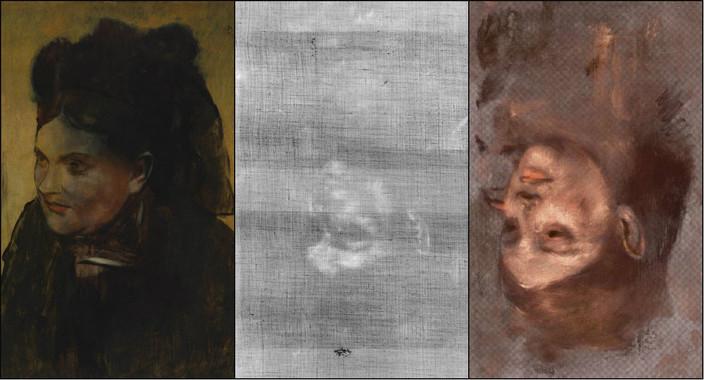 A la izquierda el Retrato de una mujer de Edgard Degas, que esconde invertido el retrato de la modelo Emma Dobigny. A la derecha, representación en falso color del retrato oculto. / David Thurrowgood