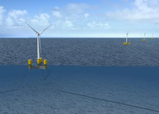 Arriba y al inicio: las turbinas eólicas flotantes se sientan en un sistema flotante de acero y hormigón, que les permite operar en aguas de hasta 200 metros de profundidad. Imágenes de crédito: DCNS.
