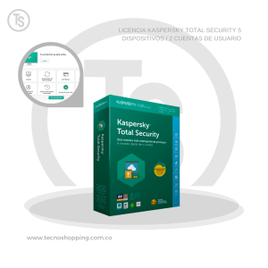 LICENCIA KASPERSKY TOTAL SECURITY 5 DISPOSITIVOS / 2 CUENTAS DE USUARIO