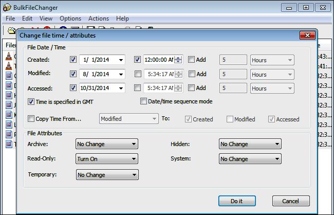 BulkFileChanger - Como cambiar los atributos de modificacion de los archivos