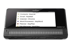 foto frontal do computador Note Touch + com o menu na tela