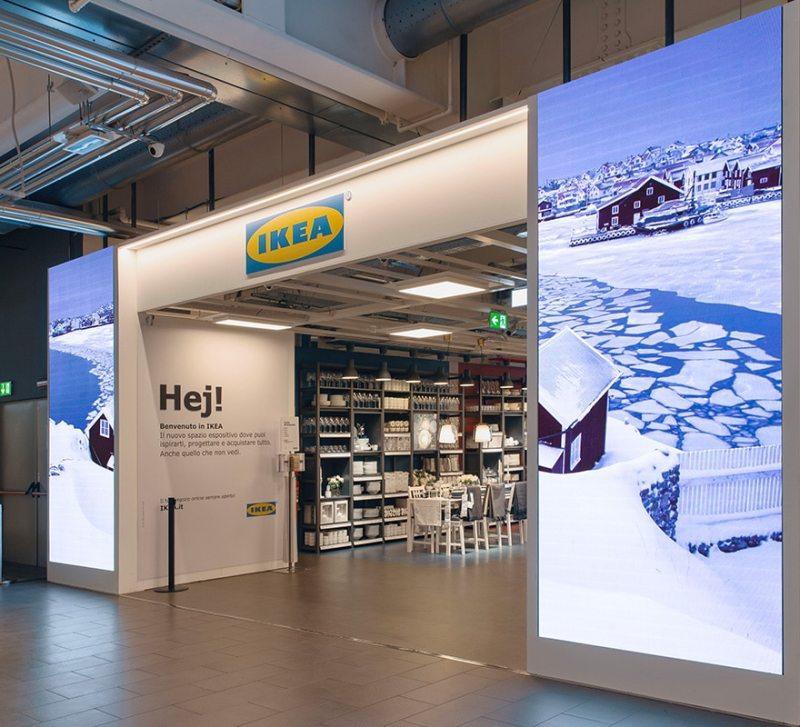 Ikea ledwall totem auto portanti integrati nella parete schermo led indoor alta risoluzione