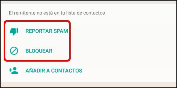 reportar SPAM y bloquear número de WhatsApp