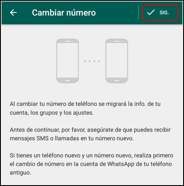 cambiar número en whatsapp