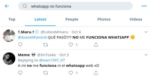 whatsapp no funciona twitter