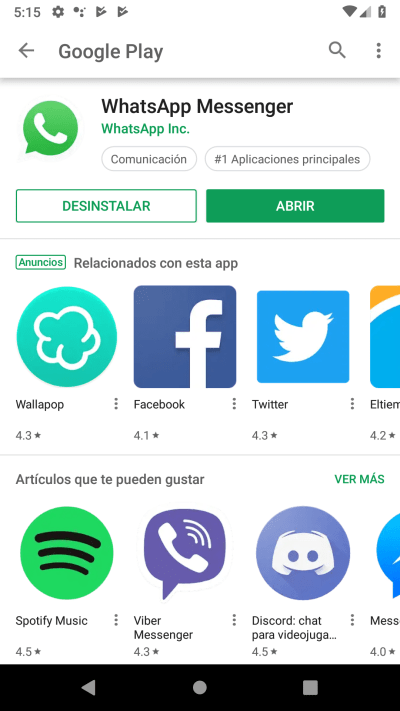 abrir WhatsApp Google Play