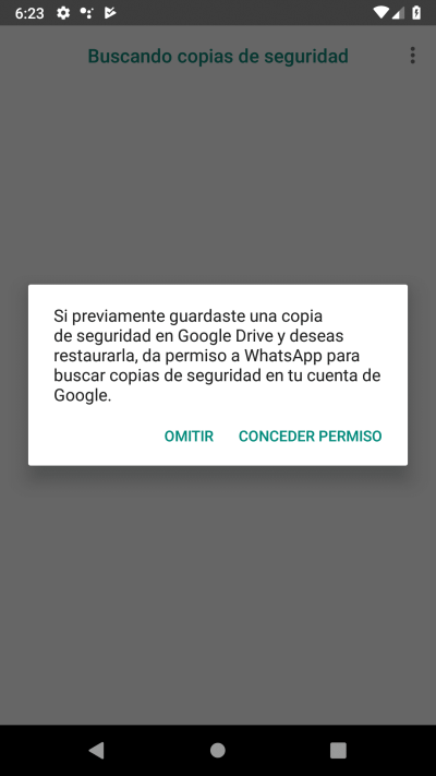 conceder permiso en Google Drive con WhatsApp