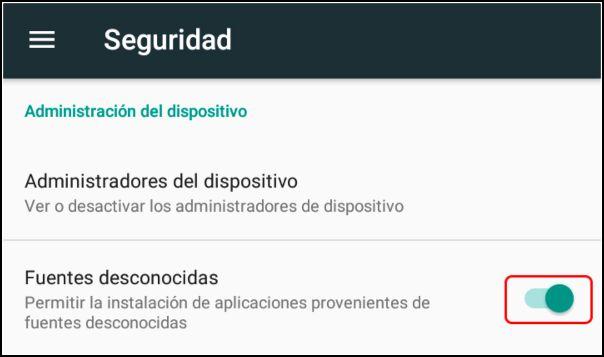 activar fuentes desconocidas en Android