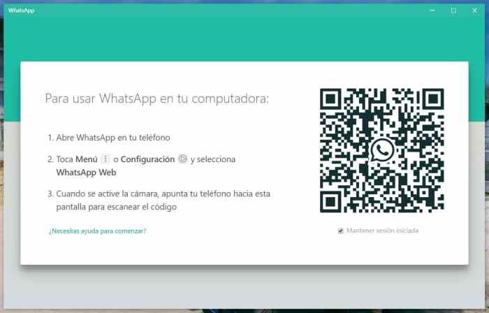 Inicio de WhatsApp PC