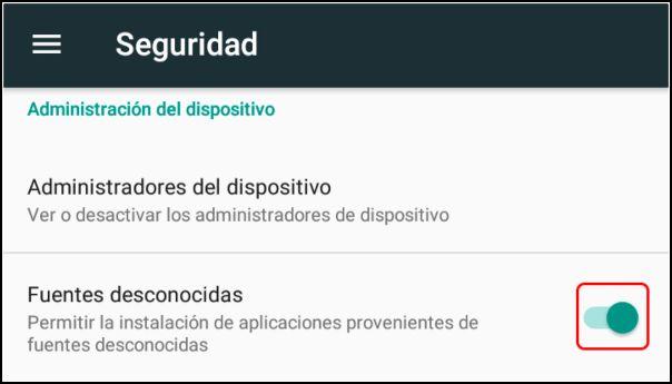 fuentes desconocidas Android