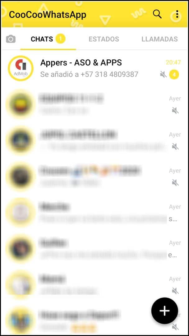 coocoo whatsapp pantalla de inicio