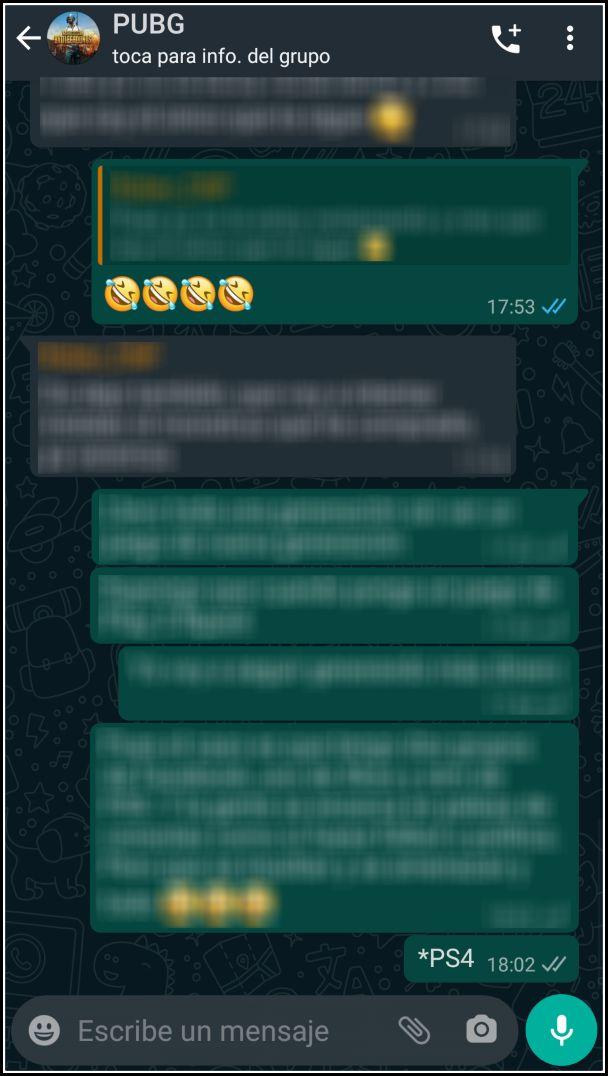 conversación WhatsApp Oscuro