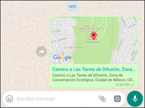 mensaje enviado ubicación falsa