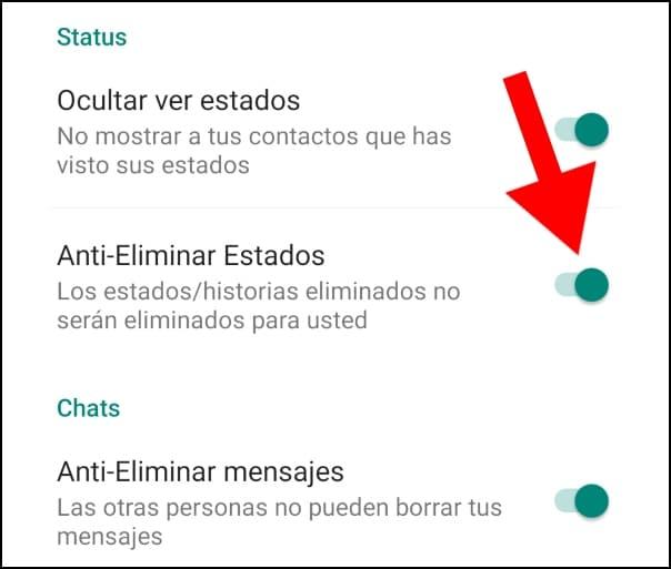 opción anti-eliminar mensajes