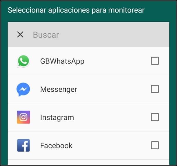 seleccionar app a monitorear