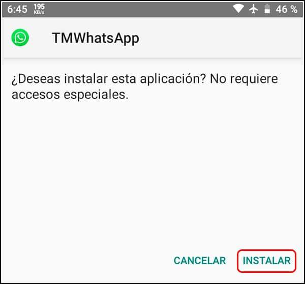 Instalación de TMWhatsApp