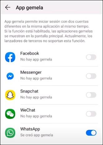app gemela whatsapp huawei