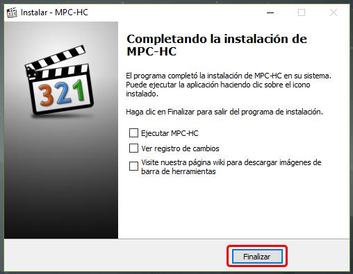 Instalar un reproductor alternativo MPC-HC