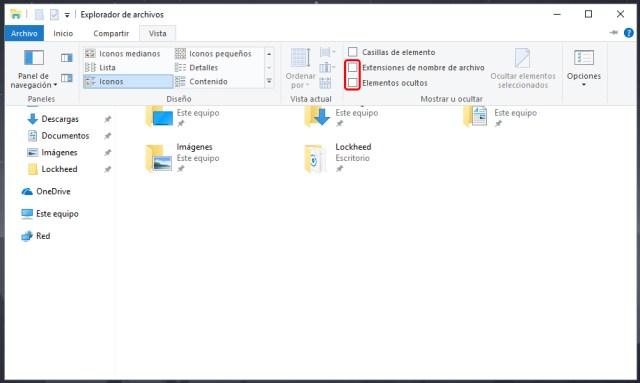 Cómo mostrar archivos y extensiones ocultas en Windows 10